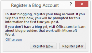 Register a Blog Account