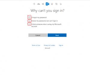 outlook reset password