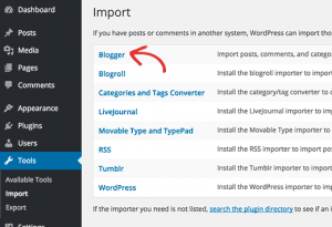 step 2 blogger to wordpress