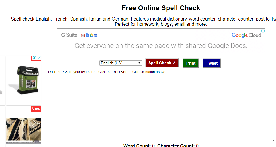 Free spell checek